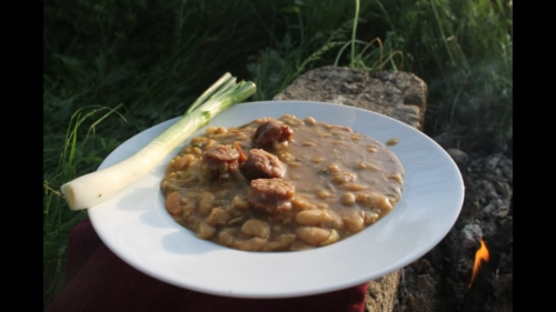 beans with sausages recipe in cauldron